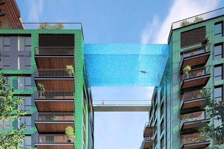 Londres terá piscina de vidro suspensa que liga dois edifícios de luxo