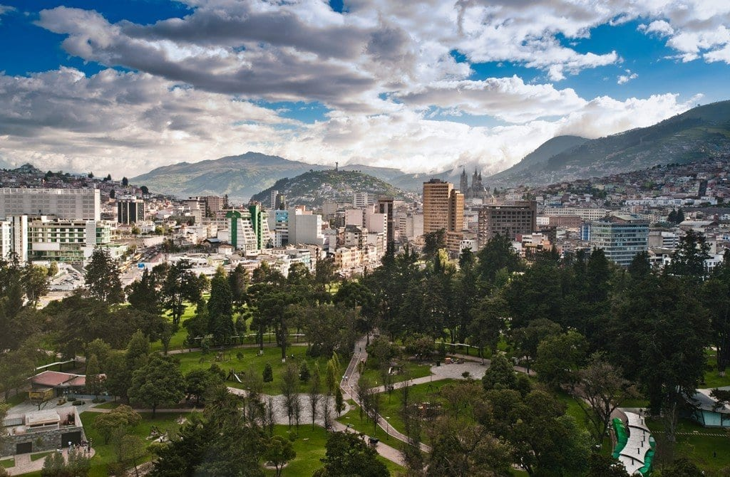 Elevated view of Quito, Ecuador