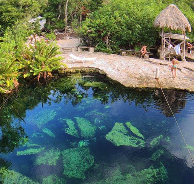 visitar o México cenote-cristalino