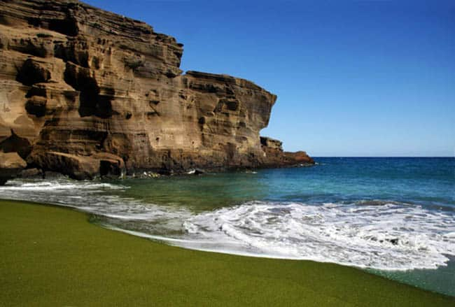 Green sand beach on Big island Hawaii