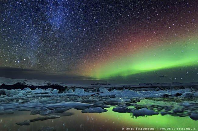 Auroral Austral e Boreal na Islandia