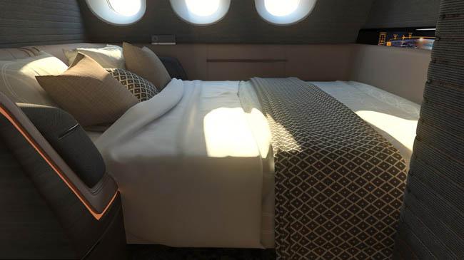 Nova classe de luxo dos aviões será como um hotel boutique no céu