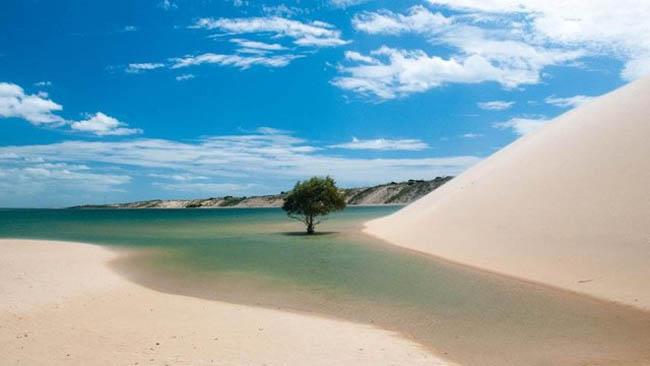 Dunas, salinas e praias exuberantes formam a paisagem de Galinhos, em Natal