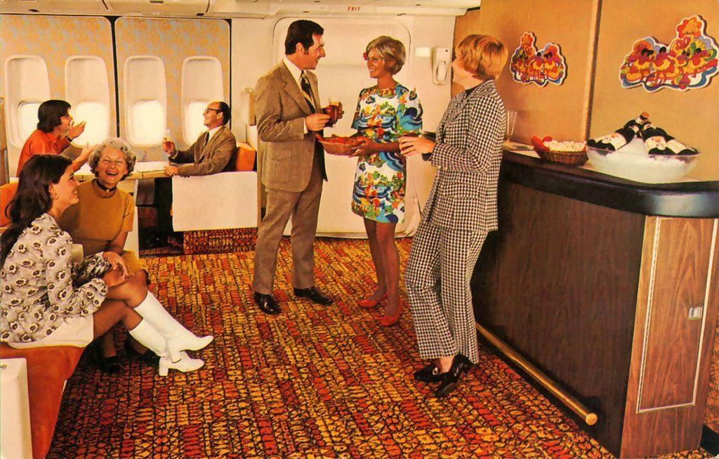 Como era voar de avião nos anos1970