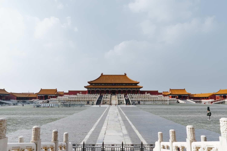 Pagoda com telhados marrons em Pequim.