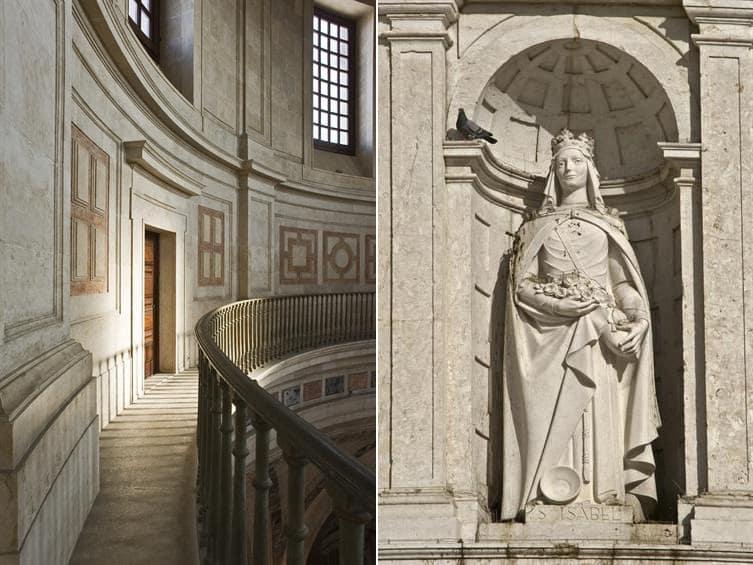 À esquerda, detalhe interior do Panteão. À direita, estátua de Santa Isabel.