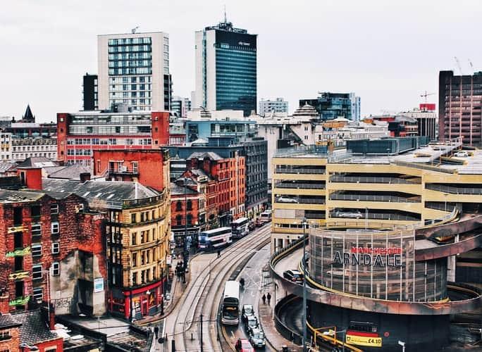 Roteiro pela Inglaterra: vista aérea de Manchester