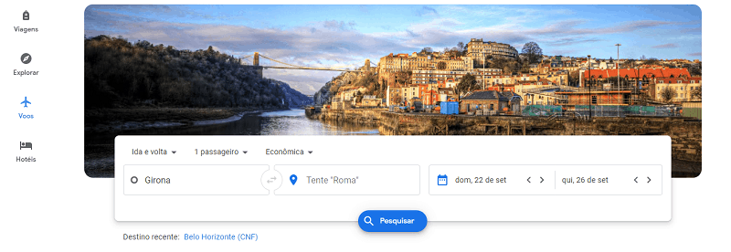Página inicial do Google Flights