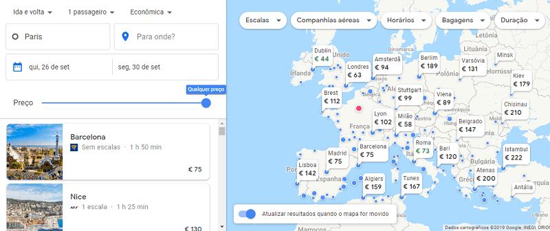 Um mapa completo mostra todos os destinos disponíveis para viagem, com preços
