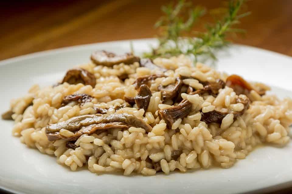 Prato de risoto de cogumelos