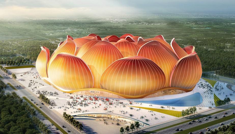 Em formato de flor, estádio na China será um dos maiores do mundo