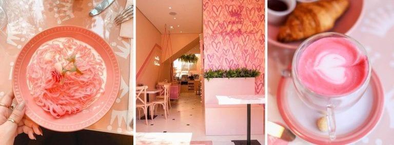 Cafeteria em São Paulo aposta em cor de rosa do café ao macarrão