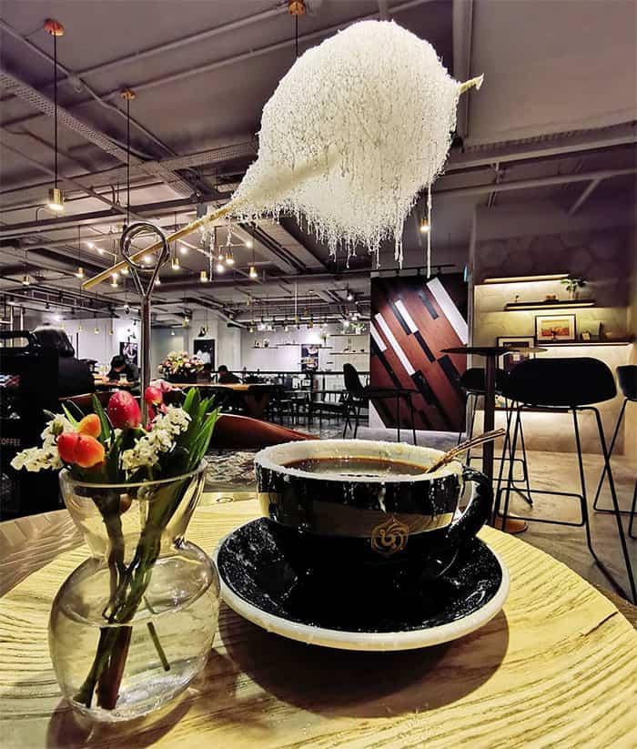 café com nuvem de algodão doce